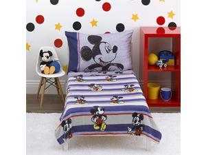 Mickey Mouse Beyond Classic 4Piece Toddler Bed Set Coral Fleece Toddler Blanket Fitted Bottom Sheet Flat Top Sheet Standard Size Pillowcase Blue Red Gray Black