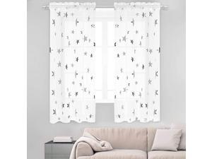 Silver Star Print Curtains White Sheer Window Drapes with Twinkle Star for Living Room 2 Panels Rod Pocket Transparent and Soft Starry Theme for Bedroom 52quot W x63 L