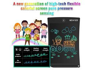 85 Inches Colorful Doodle Board Kids Toys LCD Screen Writing Tablet with Lock Function Magnetic Drawing Board Erasable Doodles Notepad Gifts for Ages 3+ Black with Lanyard