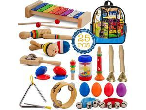 Toddler Musical Instruments Set 25 pcs Wooden Educational Music Toys Percussion Kit for Kids with Xylophone and Storage Backpack Big Band