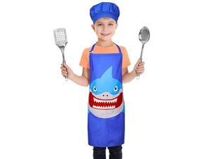 Apron and Chef Hat Set Chef Costume for Boys Girls Baking Gardening Painting Role Play Age 312 Shark L