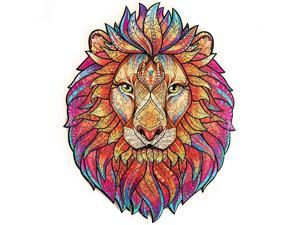 Wooden Jigsaw Puzzles Unique Shape Jigsaw Pieces Best Gift for Adults and Kids Mysterious Lion 97 x 125 inches 192 pieces Medium