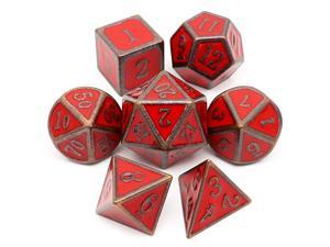 Metal DND Dice Set D amp D 7PCS of D20 D12 D10 D8 D6 D4 for Dungeons and Dragons TTRPG Games Antique Red