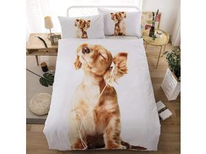 Cute Dog Printed Duvet Cover Set Full Size Quilt Cover 3D Yellow Puppy Bedding Set Animal Theme Comforter Cover for Kids Teens Boys Dog Listening Music Pattern Quilt Cover