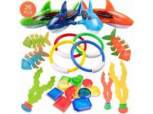 26 Pack Diving Toy for Pool Use Underwater SwimmingDiving Pool Toy Rings Toypedo BanditsStringy Octopus and Diving Fish with Under Water Treasures Gift Set BundleAges 3 and Up