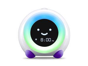 Mella Ready to Rise Childrens Sleep Trainer Alarm Clock Night Light and Sleep Sounds Machine Bright Purple