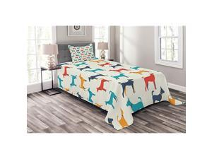 Dog Bedspread Contemporary Colorful Illustration of Dog with Contours in Retro Style Print Decorative Quilted 2 Piece Coverlet Set with Pillow Sham Twin Size Teal Beige