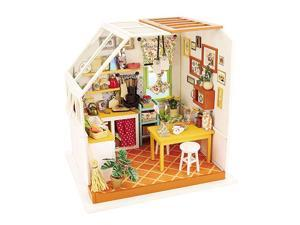 DG105 Jasons Kitchen DIY 3D Wooden Miniature Dollhouse Build Your own Crafting Kit with Real LED Lights Fun and Educational STEM Hobby Project for Kids 14 and Adults