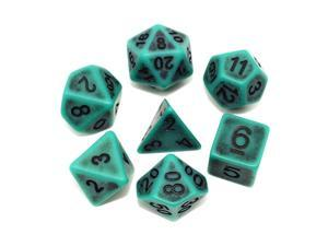 DND Dice Set Ancient RPG Dice for Dungeons and DragonsDampD Pathfinder MTG Tabletop Role Playing Game Polyhedral 7Die Dice Group Green