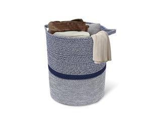 Large Cotton Rope Storage Basket Baby Laundry Basket Woven Baskets Blanket Basket with Handle for Diaper Toy Off White Home Decor 142 x 134 x 162 Navy