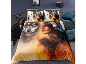 Wolf Pattern Duvet Cover Set Queen Size Adult Teen Bedding Set Indian Tribe Printed Comforter Cover Retro Wolf Bedspread Cover for Women Men Animal Theme Quilt Cover Soft Lightweight
