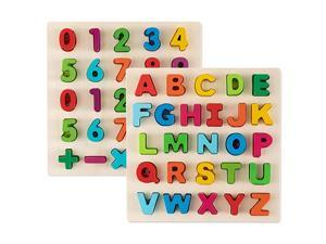 Alphabet Puzzles Wooden Upper Case Letter and Number Learning Board Ideal for Early Educational Learning for Kindergarten Toddlers amp Preschools