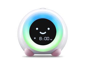 Mella Ready to Rise Childrens Trainer Alarm Clock Night Light and Sleep Sounds Machine Blush Pink