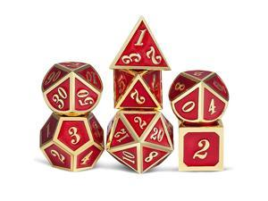 Red Metal Dice for DND Heavy Full Set of Polyhedral Tabletop Games Dice Set with Free Metal Case for Dungeons and Dragons RPG DampD and Table Games