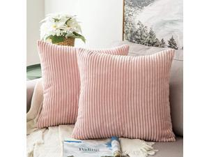 Pack of 2 Corduroy Soft Soild Decorative Square Throw Pillow Covers Set Cushion Cases Pillowcases for Sofa Bedroom Car 18 x 18 Inch 45 x 45 cm