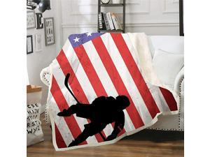 American Flag Ice Hockey Sports Throw Blanket Soft Plush Sherpa Kids Men Women Fleece Blankets for Home Decor Traveling Camping Picnic 50quotx 60quot