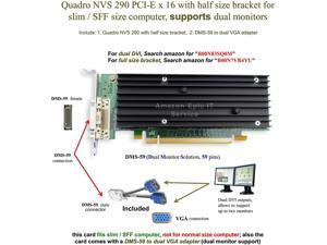 Epic IT Service - Quadro NVS 290 low profile card (half size bracket, DMS-59 to dual VGA adapter)