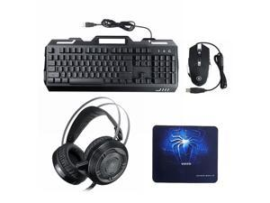 3-In-1 USB Wired 3200DPI Mouse Colorful Headset Rainbow Backlight Mechanical Keyboard Set with Mouse Pad for Desktop Computer Notebook 2 key