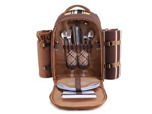 Picnic Backpack Bag for 2 Person with Cooler Compartment Detachable BottleWine Holder Fleece Blanket Plates and Cutlery2 Person Brown