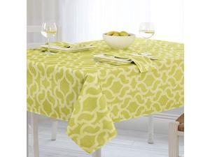 Sydney Indoor Outdoor Polyester Table Linens 60Inch by 84Inch Oblong Rectangle Tablecloth Lime