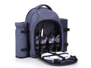 Picnic Backpack Bag for 4 Person with Cooler Compartment Detachable BottleWine Holder Fleece Blanket45quotx53quot Coffee MugsPlates and Cutlery Brown