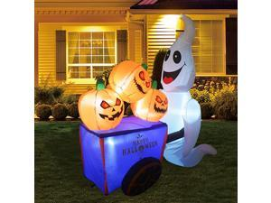 Halloween Blow up Yard Decorations | Halloween Decorations Outdoor inflatables Ghost with Pumpkin Cart Yaed Decorations | Outdoor Halloween Decorations