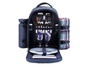 walker Picnic Backpack Bag for 2 Person with Cooler Compartment Detachable BottleWine Holder Fleece Blanket Plates and Cutlery Blue