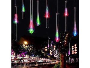 Falling Rain Lights Meteor Shower Lights Christmas Lights 30cm 8 Tube 144 LEDs Falling Rain Drop Icicle String Lights for Christmas Trees Halloween Decoration Holiday Wedding Multi Color