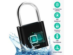 Fingerprint Padlock Waterproof Smart Lock for Gym School Locker Bike Storage Box