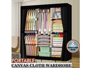 "71"" Portable Closet Wardrobe Clothes Rack Large Storage Space Home Organizer"