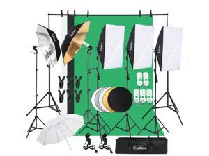 Photo Video Studio Photography Continuous Lighting Kit 3x Backdrop Stand Set