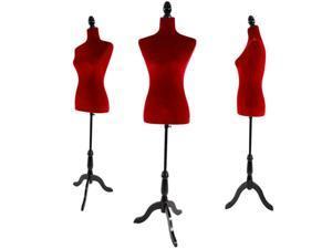 Red Female Mannequin Dress Form Display W/ Black Tripod Stand Designer Pattern