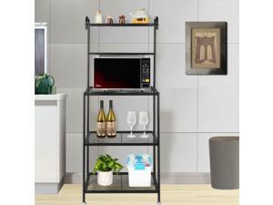 4-Tier Kitchen Bakers Rack Microwave Oven Stand Storage Workston Shelf Black