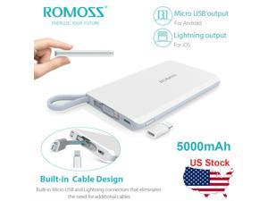 QS05 5000mAh Portable Charger Mini Power Bank with Built-in Charge Cable