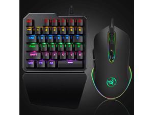 LED Backlit Hand Gaming 35 Key Mechanical Keyboard + Mouse Professional Portable