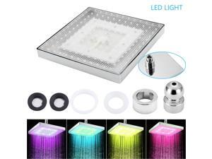 7 Colorful Changing LED Light  Rainfall Shower Head Square Top Sprayer Thin