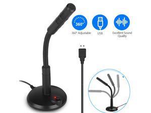 USB Computer Mini Condenser Microphone Stand Recording Mic For PC Desktop Laptop