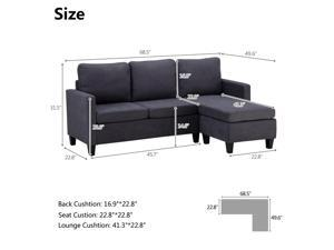 3 Colors Modern Living Room Reversible Linen Fabric Sectional Convertible Sofa