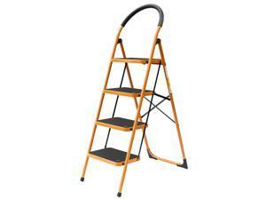 4 Step Ladder Folding Steel Step Stool Anti-slip 330Lbs Capacity Black  Yellow