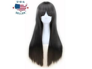 Women's Black Long Straight Hair Wig With Bangs Heat Resistant Daily Cosplay Cap