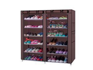 "45"" Portable Double Door Home Shoe Rack Shelves Storage Closet Organizer Cabinet"