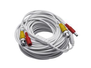 150 Feet WHITE BNC Video + DC Power Siamese Cable for CCTV Surveillance Camera