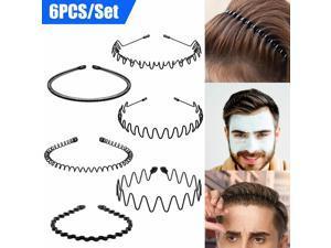 6X Metal Men Women Sports Headband Hair Band Hoop Comb Hairband Wave Style Black