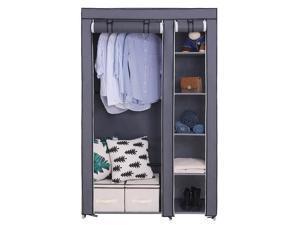"67"" Portable Closet Storage Organizer Clothes Fabric Wardrobe Shoe Rack w/Shelf"