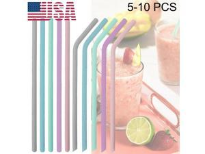 10x Drinking Silicone Straws Reusable Straw with Cleaning Brush  Freecut US