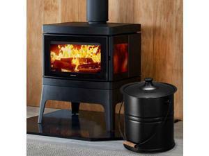 Metal Ash Bucket Fireplace Fire Pits Wood Burnig Stoves 3 Gallon Capacity Black