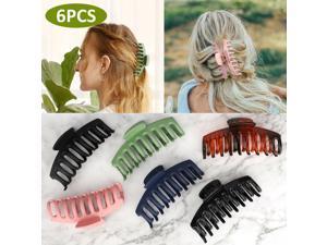6 PCS Women Plastic Hair Claw Clips Jumbo Large Various Fashion Styles Nonslip