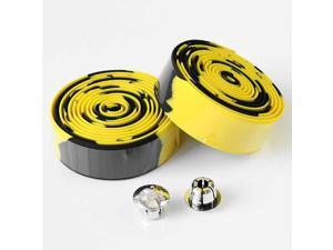 2 Rolls Bicycle Handlebar Tapes Black & Yellow Camouflage Bike Bar Tape Road Bike Handlebar Tape Cycling Handle Wraps with Bar End Plugs