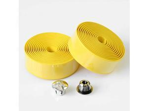 2 Rolls Bicycle Handlebar Tapes Bike Bar Tape Road Bike Handlebar Tape Cycling Handle Wraps with Bar End Plugs, Yellow