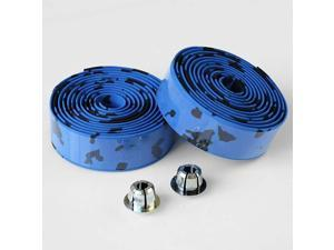 2 Rolls Bicycle Handlebar Tapes Black & Blue Camouflage Bike Bar Tape Road Bike Handlebar Tape Cycling Handle Wraps with Bar End Plugs